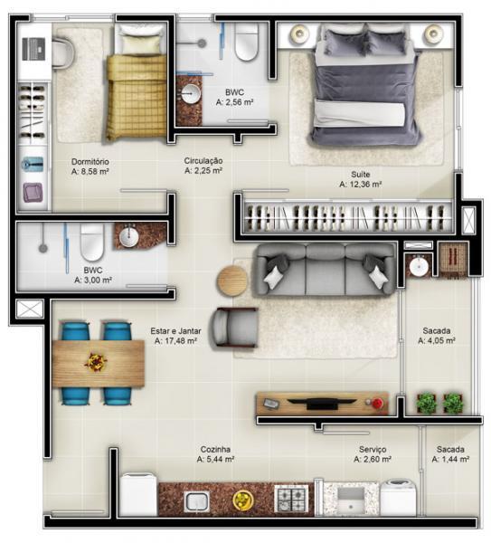Apartamento com 2 Dormitórios à venda, 76 m² por R$ 286.000,00